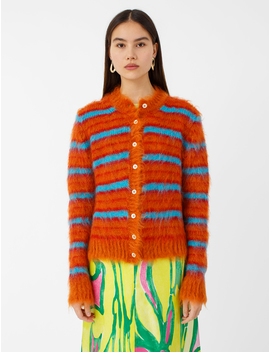 Long Sleeve Striped Mohair Cardigan by Marni