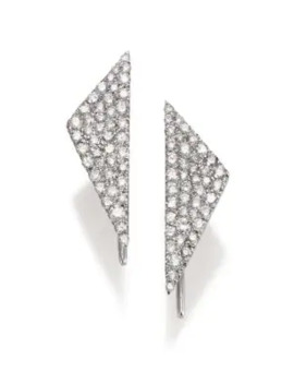 Diamond & 14 K White Gold Triangle Earrings by Meira T