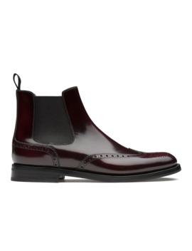 Polished Fumè Brogue Chelsea Boot Light Burgundy by Church's Footwear