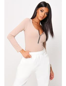 Sand Basic Rib Zip Front Bodysuit by I Saw It First