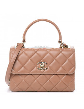 Chanel Lambskin Quilted Small Trendy Cc Flap Dual Handle Bag Beige by Chanel