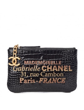 Chanel Crocodile Embossed Calfskin Cocodile Cosmetic Case Black Gold by Chanel