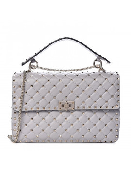 Valentino Lambskin Large Rockstud Spike Shoulder Bag Grey by Valentino