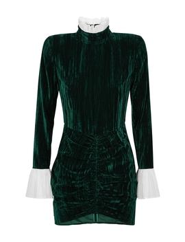 Miki Green Crushed Velvet Mini Dress by Rotate Birger Christensen