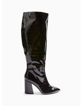 Olympia Black Crocodile Design Shaft Knee High Boots by Miss Selfridge
