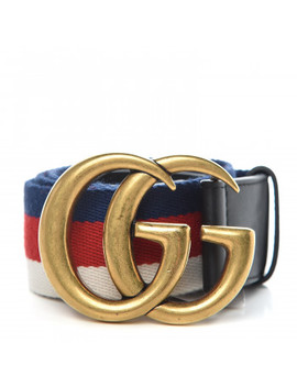 Gucci Nylon Calfskin Double G Web 85 34 Belt Black by Gucci