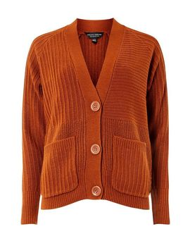 Tan Large Button Cardigan by Dorothy Perkins
