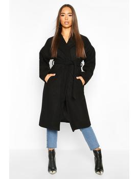 Wrap Belted Longline Wool Look Coat by Boohoo