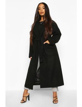 Petite Belted Patch Pocket Longline Wool Look Coat by Boohoo