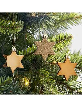 Pack Of 10 Star Tree Gold Decorations by Dunelm