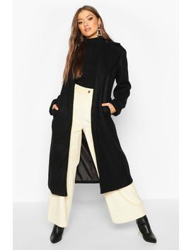Belted Collared Wrap Wool Look Coat by Boohoo