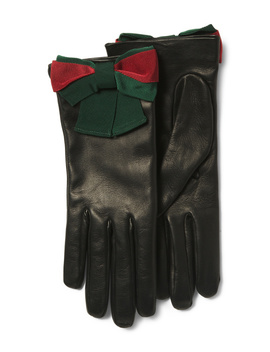 Made In Italy Leather Bow Textured Gloves by Tj Maxx