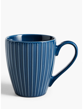 House By John Lewis Ribbed Mug, 370ml, Navy by House By John Lewis