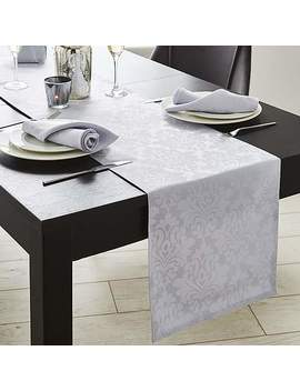 Silver Damask Table Runner by Dunelm