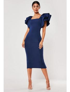 Robe Mi Longue Bleue Marine Col Carré by Missguided