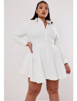 Robe Chemise Blanche Avec Perles Grandes Tailles by Missguided