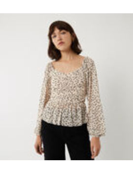 Spot Mesh Sweetheart Neck Top by Warehouse