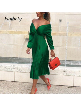 Fanbety Elegant Fit And Flare Pleated Satin Dress Women 2019 Autumn Sexy Off Shoulder Long Sleeve Dress Lady Casual Party Dress by Ali Express.Com