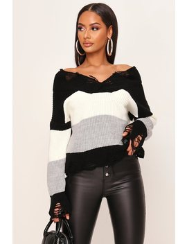 Cream Colour Block Distressed Jumper by I Saw It First