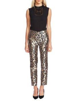 Leopard Print Jacquard Pants by Vince Camuto
