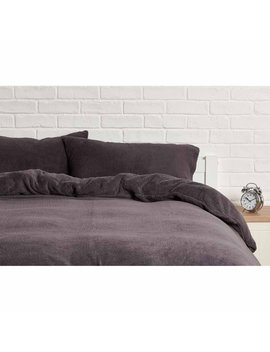 Sleepdown Charcoal Soft Teddy Fleece Duvet Set Kingsize Sleepdown Charcoal Soft Teddy Fleece Duvet Set Kingsize by Wilko