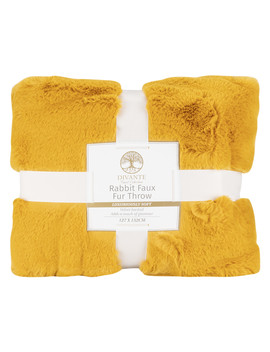 Rabbit Faux Fur Throw   Yellow by The Range