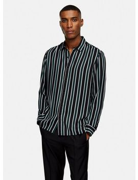 Black And Khaki Stripe Slim Shirt by Topman