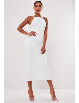 Robe Midi Blanche Drapée by Missguided