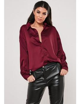 Burgundy Extreme Oversized Satin Shirt by Missguided