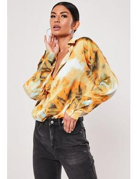 Orange Tie Dye Extreme Oversized Satin Shirt by Missguided