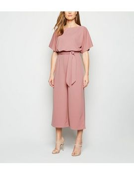Pink Batwing Belted Culotte Jumpsuit by New Look