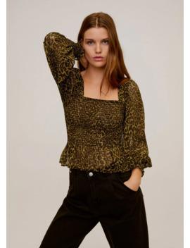 Elastisk Bluse Med Leopardmønster by Mango