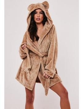 Mocha Fluffy Ear Detail Short Dressing Gown by Missguided