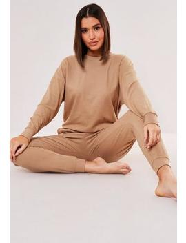 Camel Rib Soft Touch Loungewear Set by Missguided