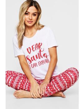 Petite 'Dear Santa' Slogan Tops & Trousers Pj Set by Boohoo