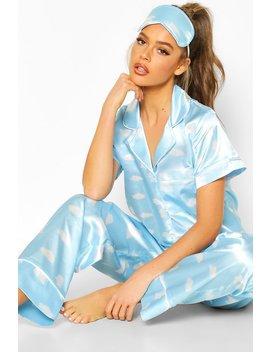 Satin 3pc Cloud Trouser Pyjama Set by Boohoo