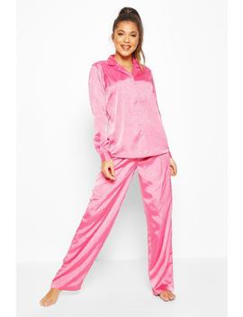 Jaquard Satin Long Sleeve Pyjama Set by Boohoo