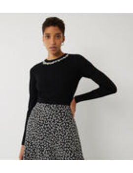 Pearl Embellished Neck Jumper by Warehouse