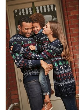 Navy Womens Matching Family Pattern Wrapping Crew Neck Jumper by Next