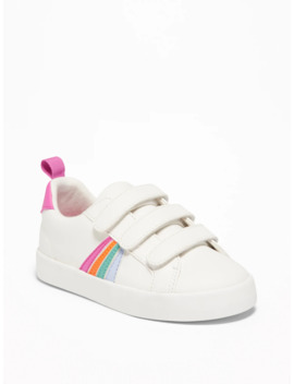 Triple Strap Rainbow Stripe Sneakers For Toddler Girls by Old Navy