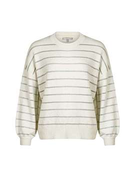 Chain Stripe White Knitted Jumper by Olivar Bonas