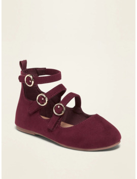 Faux Suede Triple Strap Ballet Flats For Toddler Girls by Old Navy