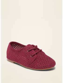 Perforated Faux Suede Oxford Shoes For Toddler Girls by Old Navy