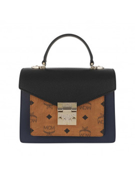 Patricia Satchel Small Cognac & Navy Blue by Mcm