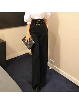 2018 New Fashion Women Trousers High Waist Women Belted Wide Leg Pants Office Lady Formal Long Pants Femme Pantalons Plus Size by Ali Express