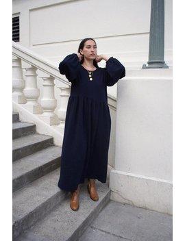 Tigre Et Tigre Jayme Dress   Navy Crinkle Polyester by Garmentory