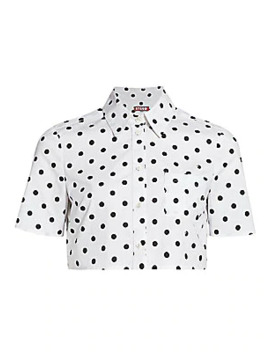 Violet Polka Dot Shirt Crop Top by Staud