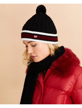Striped Cable Knit Wool Cotton Hat by Brooks Brothers