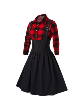 Plus Size Plaid Buckles Pin Up Dress by Dress Lily