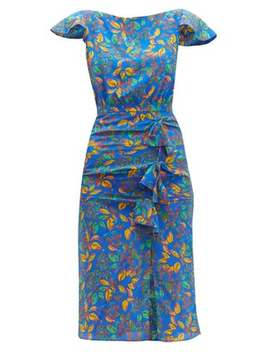 Heather Berry Print Bow Front Silk Dress by Saloni